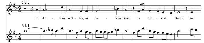 Notenbeispiel 3: Kindertotenlieder, V: In diesem Wetter, in diesem Braus, T. 100–106